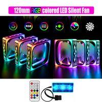 Супер новый бесшумный RGB синхронизации 120мм LED скорость вентилятора ПК вентилятор охладителя регулируется красивых LED multimodes 12см случае RGB охладитель
