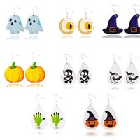 Calabaza Impreso pendientes pendientes de cuero ligero de joyería para las mujeres dama de la moda de Halloween partido pendiente cuelgan Suministros HHC2061