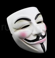 V blanca máscara de la máscara de Halloween máscaras Delineador de ojos de la cara llena del partido Puntales Vendetta Anonymous película de Guy Máscaras RRA3557