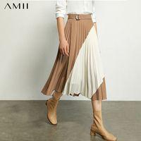 Etekler Amii Minimalizm Sonbahar Moda Pileli Kadın Etek Eklenmiş Yüksek Bel Aine Gevşek Kadın 12070345