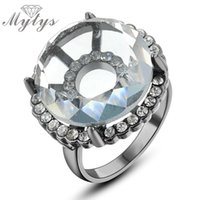 Cluster Rings MyTys Classic Clear Big Crystal for Women Design Mode Gift Unieke Sieraden R694 R695