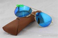 1шт Высокое качество Мода Зеркало Мужчины Женщины полит Вспышки Солнцезащитные очки UV400 Vintage Спорт ВС стекла 58мм с коробкой и чехол