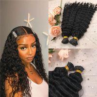 tip vague profonde I Extensions cheveux naturels Couleur Noir réel vierge brésilienne Micro Liens i cheveux pointe 100 g 1 g / brin