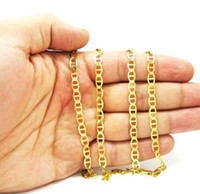 "5.3mm 22-26"" 10K Yellow Gold Mens Cuban Mariner Anchor Cuban Chain Necklace"