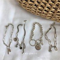 donne designer di gioielli di lusso bracciali Bracciale in argento con le lettere fortuna cuore di coniglio orso retrò ins moda pouplar 925 braccialetti di catene