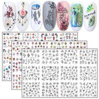 12pcs Nail Art Transferi Çıkartmaları Su Etiketler Renkli Tırnak Takı Çiçek Hayvan Siyah Kürsörler Manikür Dövme JIBN1129-1212