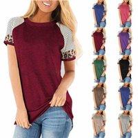 Schwangerschafts-gestreiftes T-Shirts Nursing Tops Kurz Leopard-Hülsen-Rundhalsausschnitt-Blusen-T-Shirt Kleidung Lässige Mutterschaft Clothings