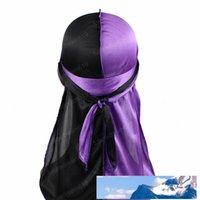 أمواج للجنسين الرجال اثنين نغمات الحرير Durag خارج خياطة حريري Durags باندانا أغطية الرأس العمامة قبعة طويلة الأشرطة دو خرقة