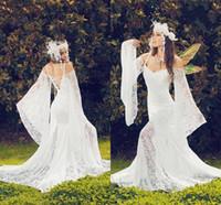 Vintage Medieval Victorian Mermaid Brautkleid 2021 volle Spitze Glocke Langarm Gothic Außen Fairy Land Boho Strand Brautkleider AL7101