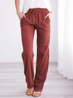 Womens Casual Loose Pants Fashion Trend Linen Extended Solid...