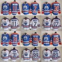Edmonton oilers CCM 빈티지 하키 유니폼 17 Jari Kurri 99 Wayne Gretzky 11 Mark Messier 89 Sam Gagner 7 Paul Coffey Jersey Stitched