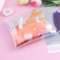 أكياس التجميل الحالات 2021 الأزياء الهولوغرام الليزر pvc واضح شفافة حقيبة زر المغلف ماء رفرف غطاء الحقائب هدية وثيقة