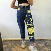Мода солнечные звезда напечатанные брюки Джинсы Женщины Осень Черный Высокая Талия Молодые Девушки Шикарные Джинсовые Брюки Женщина Крутые парни Джинсы # 123