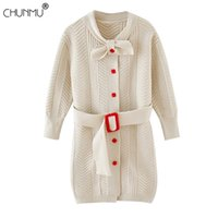 Kids Children Sweater Dress Autumn Girl Clothes Elegant Cardigan Button Waist Belt Princess Party Dresses for Girls 0922