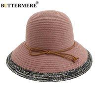 Широкие шляпы Breim Hats Buttermer Striped летняя шляпа для женщин элегантный розовый пляж леди складной старинные соломенные женские 2021 дискета