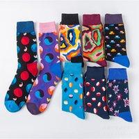 PEONFLY Hommes Happy Socks 8 couleurs coton équipage modèle de style britannique marque de créateur de mode Harajuku nouveauté art drôle