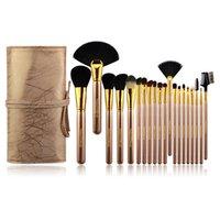 20 Adet Lüks Altın Makyaj Fırçalar Aracı Setleri Profesyonel Toz Göz Farı Tasarımcı Çanta Fırça Kozmetik Set Vakfı Dudak Fırçası Makyaj