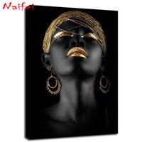 Diamond Pintura Kit negro y mujer africana diamante de oro Full Art Taladro retrato en mosaico de bordado de punto de cruz Decoración