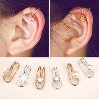 Oído CZ Diamond Cuff pendientes U Forma de Estrella Luna pendiente del oro del bronce plateado astilla Mujeres encantos del metal de joyería pendientes de clip del oído
