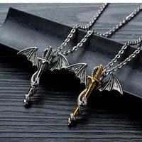 OPK Men Pendant Necklaces Trendy Rock Fashion for Men Punk Vintage Pterosaur Golden Sword Men's Titanium Steel Necklace 937