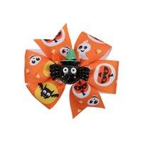 3Inch de Halloween Arcos Barrettes Bowknot niños horquilla de clip fantasma calabaza impreso historieta de la cinta del pelo pelo de los niños accesorios tocado D9701