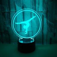 Colorful touch 3D led Ballet visiva lampada da tavolo 3D stereoscopico Illusion stereoscopica regalo Notte regalo di festa luce creativa