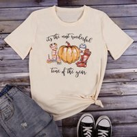New Women Pumpkin Print Halloween Baseball Tee Shirt Top Femme Fall Vintage Festival Tshirt Tops Korean Style T-Shirt Clothes