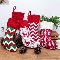 Трикотажное Рождественский чулок носки Санта подарок сумка с Плюшевые Бал ELK Снежинка конфеты подарки держатель Xmas Tree висячие украшения YFA2530