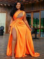 2020 아랍어 아소 새우 오렌지 파란색 크리스탈 이브닝 드레스 높은 분할 댄스 파티 드레스 어깨 하나 정장 파티 번째 리셉션 가운 ZJ923