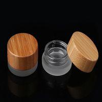 populares 5ml frasco de vidro fosco com tampa de bambu cera cosmética recipiente creme 5g recipiente de armazenamento