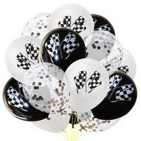 Parti Dekorasyon Siyah Beyaz Yarış Bayrak Lateks Balonlar Kareli Yarış Araba Temalı Altın Konfeti Çocuklar Mutlu Doğum Günü Malzemeleri