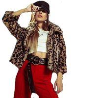 Kadınlar Sahte Kürk Palto Moda Leopard Coat Uzun Kollu Kış Tüm Eşleştirme Dış Giyim Ücretsiz Kargo Isınma