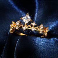 Ins Top Verkauf beliebter feinem Schmuck 925 Sterling Silvergold Fill Princess Cut White topaz cz Diamant Edelsteine Frauen Hochzeit Kronenring
