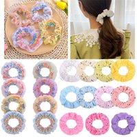 Pelo anillo de dulce impresión encantadora arco iris doble grande anillo elástico delgado Toca Bobble Hairband mujeres de la muchacha de pelo titular cuerda D9311