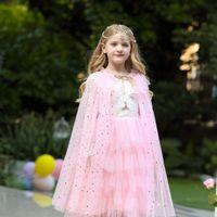 Halloween Costume ragazze Outfits Arcobaleno paillettes principessa scialle Compleanno Bambini vestiti per bambini Cosplay Abbigliamento Tulle Capo Ragazze