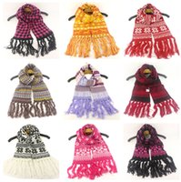 Hiver chaud tricot Scarfves enfants de Noël flocon de neige Imprimé écharpe de laine jacquard Foulard Réchauffez Wraps Cape extérieure Sacrf D91007