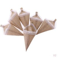 12pcs Hanging Burlap Lace Flower Basket Pew Cone Wedding Home Decoration DIY
