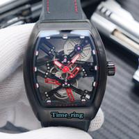 Mejores V edición 45 S6 SQT NR BR dial esquelético relojes de diseño Negro Caja de acero Movimiento mecánico automático del reloj para hombre de la correa de nylon Negro