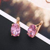 OCESRIO reizvolle elegante 585 Rose Gold Ohrringe Zircon bunte Bolzen-Ohrringe für Frauen Modeschmuck Brincos oorbellen ers-k98