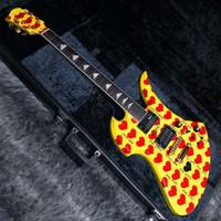 نادرة أصفر أحرق أصفر إخفاء نموذج الصين جعل التوقيع الغيتار الكهربائي 24 الحنق شحن مجاني