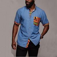 Vintage Denim Camisa de la nueva del verano de los hombres de manga corta de Hawai casuales para hombre rayada bolsillo Imprimir Camisas de la playa Hombre de gran tamaño Hemd