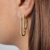 2020 nouvelles femmes en or élégant clous de sécurité Broche design unique de la mode paperclip bijoux rempli délicate boucle d'oreille cz