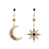 BALANBIU Bohemia Этнический Moon Star мотаться серьги для женщин Шарм Asymmetric Кристалл уха клип 2020 Мода Ювелирные аксессуары