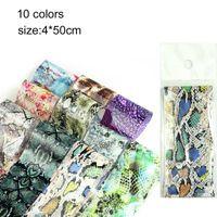 10pcs Schlangen-Haut-Entwurfs-Nagel-Folien-Leopard-Blumen-Nagel-Aufkleber-Slider Transferfolien Decals Zubehör 4 * 50cm