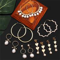 Luokey Vintage naturel baroque perle Boucles d'oreilles pour les femmes Star Heart long Tassel oreille Anneaux Femme Boho Hoops Brincos Bijoux