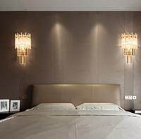 آرت ديكو تصميم الكريستال الجدار الشمعدان مصباح أضواء الذهب الحديثة الجدار أضواء غرفة المعيشة مصباح غرفة نوم 25CM