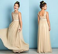 Новая мода дешевые шампанское a-line младшие подружки невесты платья scoop шеи кружева длиной до пола шифон платье невесты свадебные гостевые вечеринки платья