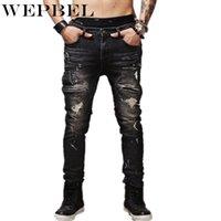 Erkek kot wepbel erkek sıkıntılı punk sıska streç kot biker erkek düz siyah pantolon artı boyutu hip hop rock moto