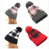 Vrouwen gebreide hoed winter flensde plaid hoofddeksels pom pom mutsen cap warme wol caps breien bonnet muts feest petten ljjp531