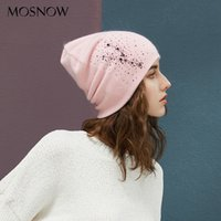 Winter Beanies High Quality Rhinestones Lady Beanies Women Hats For Autumn New Brand Warm Lining Knitted Caps Wool Hat Female LJ200911